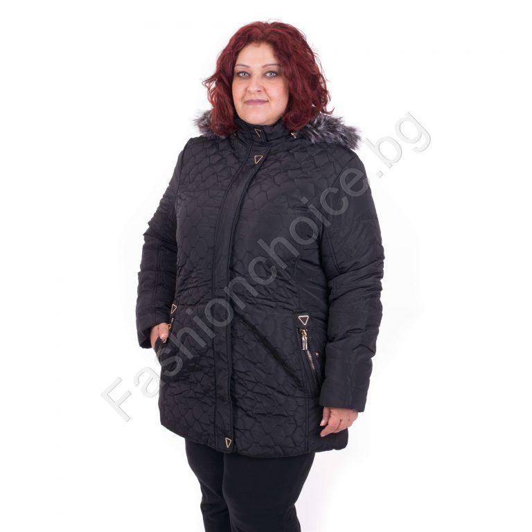 Топло зимно шушляково макси яке с качулка