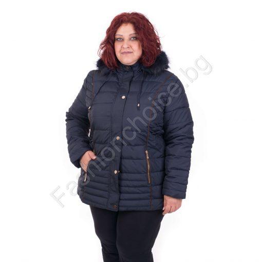 Комфортно дебело дамско яке с качулка /от 4XL до 8XL/