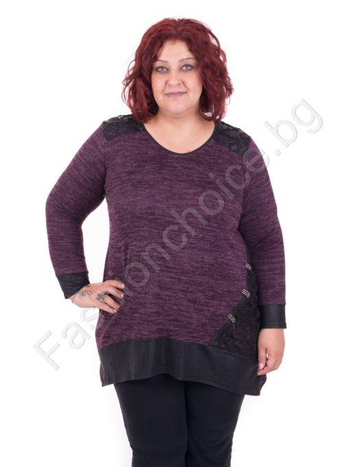 Стилна дамска туника в лила и черно