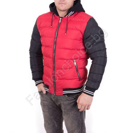 Дебело късо мъжко яке в червено и зелено