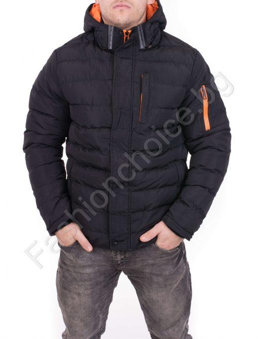 Зимно шушляково мъжко яке с цветни ципове в черно и синьо