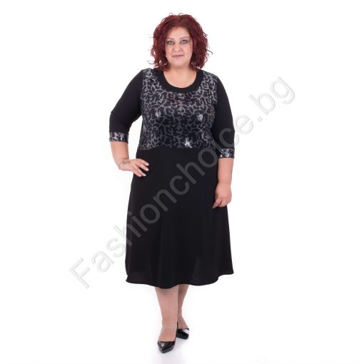 Стилна черна макси рокля в леопардов принт