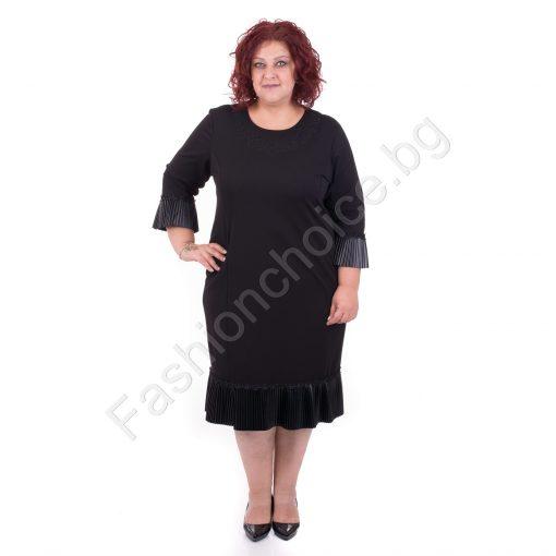 Официална черна макси рокля с красиво кожено плисе
