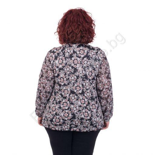 Свежа и ефирна макси блуза с жабо в цветен принт