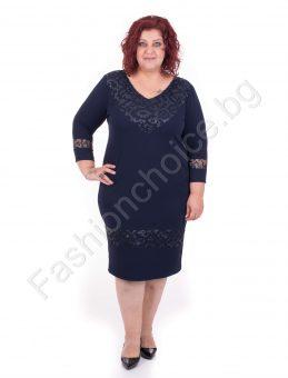 8eb052c3f23 Елегантна макси рокля с V- образно деколте в два десена ...