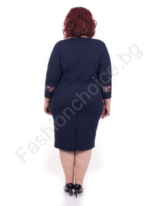 Елегантна макси рокля с V- образно деколте в два десена