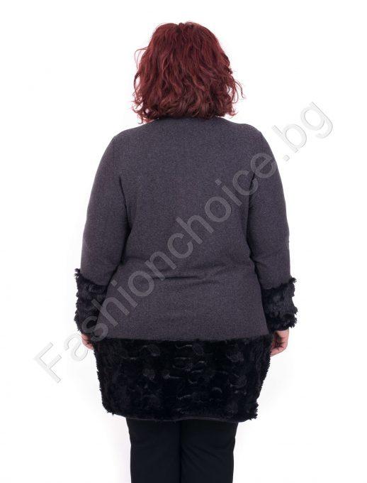 Екстравагантна плътна макси туника с красив маншет и джобче
