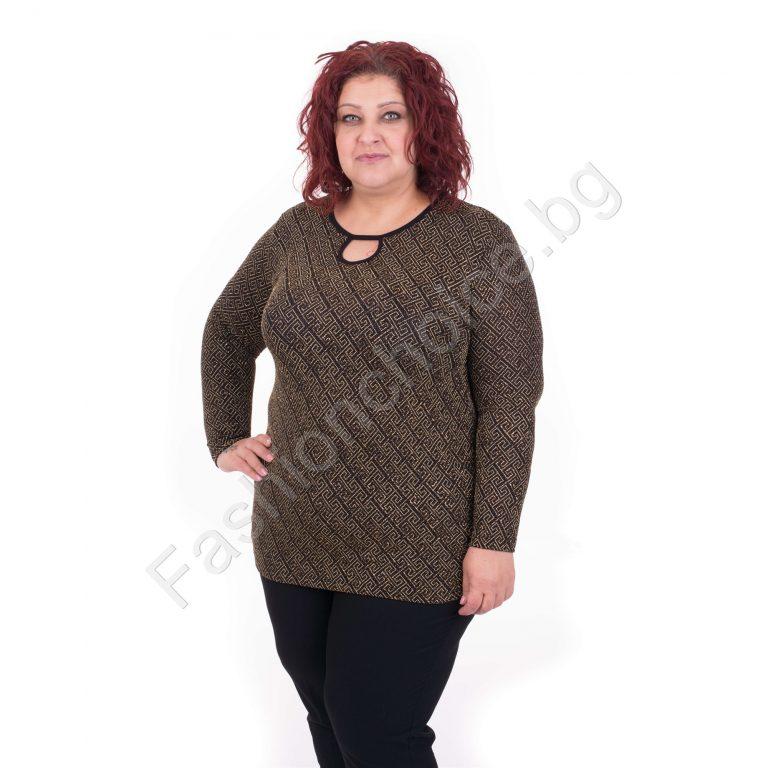 Сладка макси блузка в златист модерен десен/2XL,3XL,4XL,5XL/