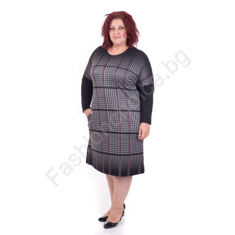 Плътна красива макси рокля в елегантно нежно каре/4XL,5XL,6XL/