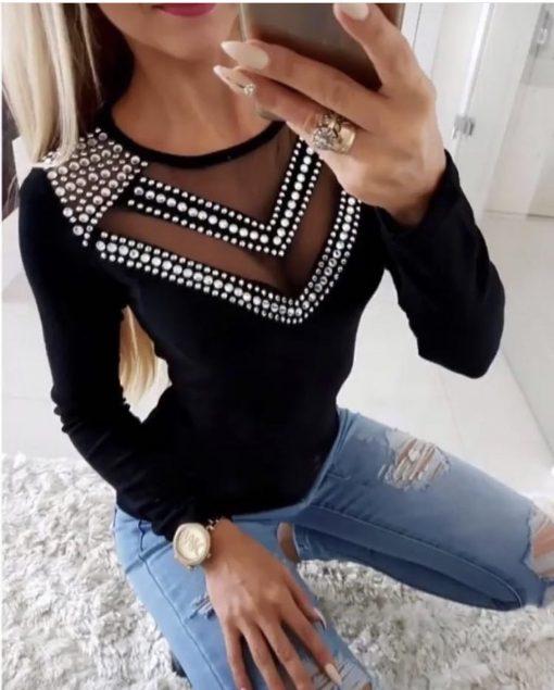 Кокетна дамска блуза в черно с камъчета