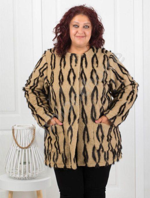 Приказно късо дамско палто/макси размери/-код 8058-3