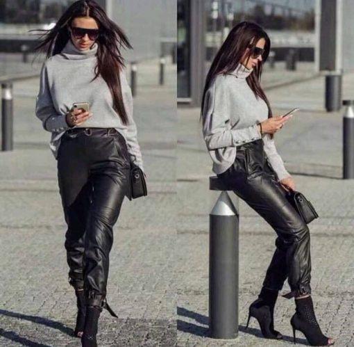 Невероятен черен кожен панталон с катарами