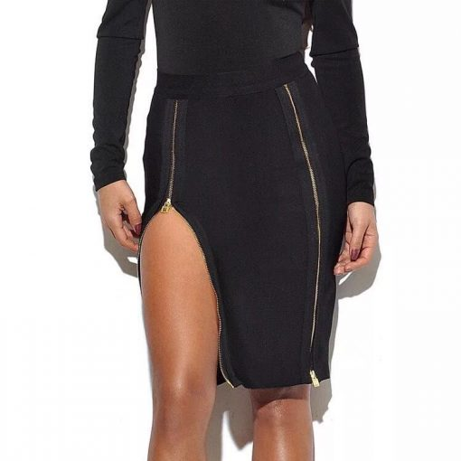 Шикозна черна пола със закачливи ципове