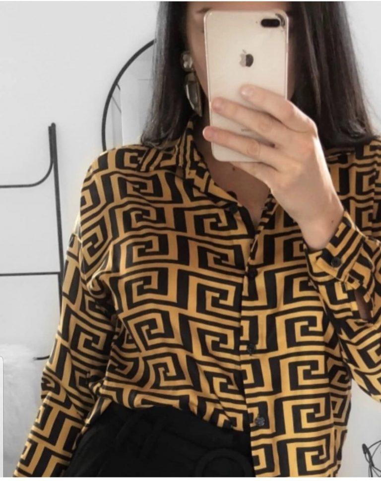 Стилна дамска риза в прекрасен десен