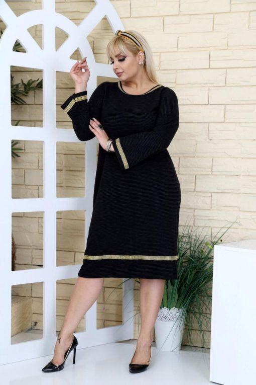 Стилна и елегантна макси рокля с нежни златни камъчета