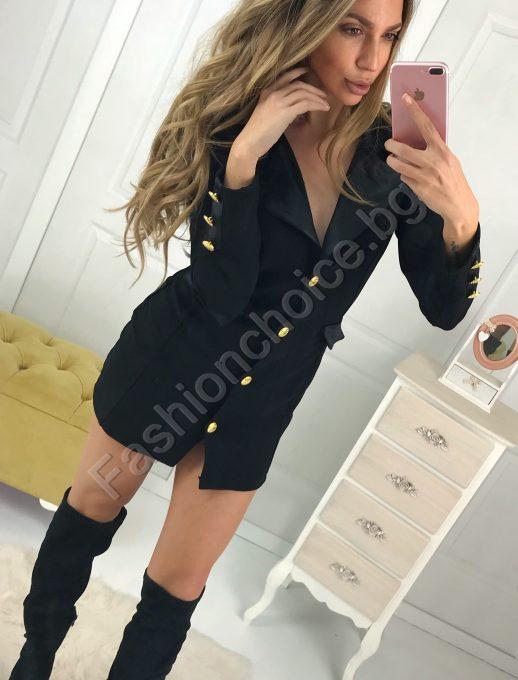 Кукленска черна рокля тип сако в мини дължина