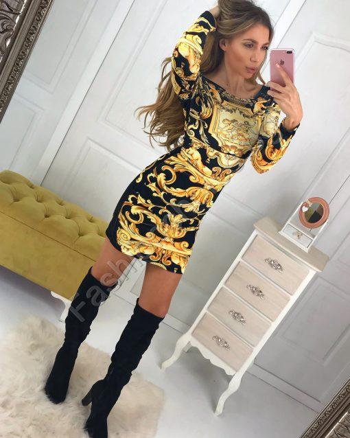 Обаятелна дамска рокля със златисти мотиви