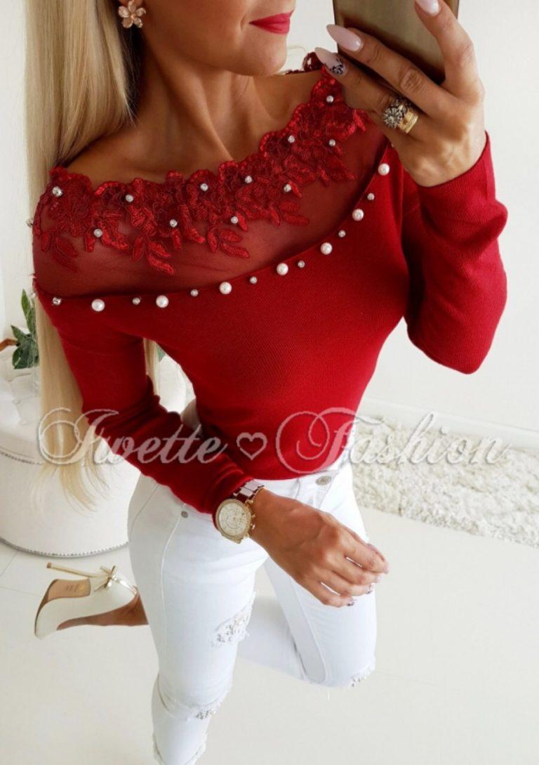 Хит модел дамска блуза в цвят бордо