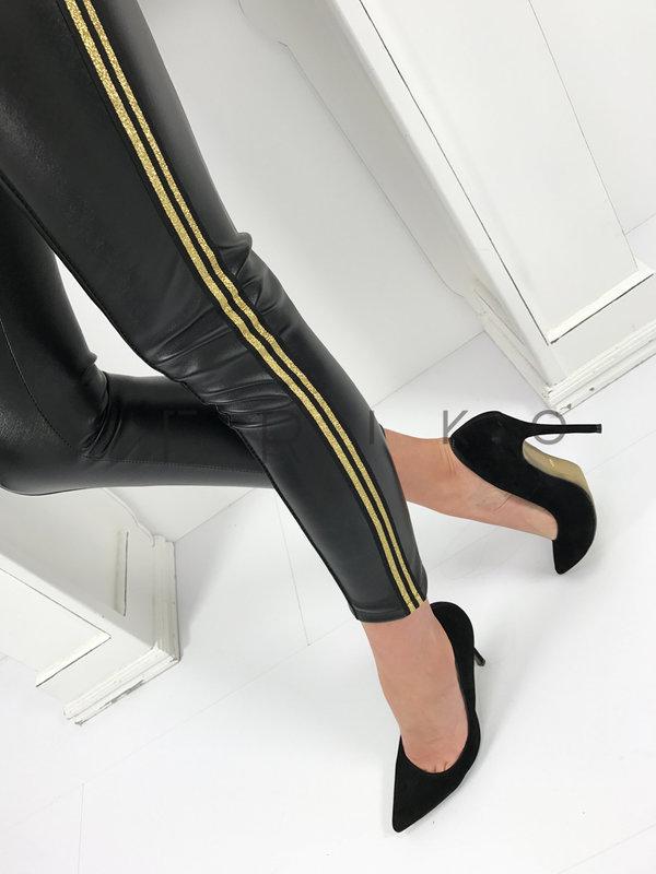 Моден дамски панталон от еко кожа в черно с кант