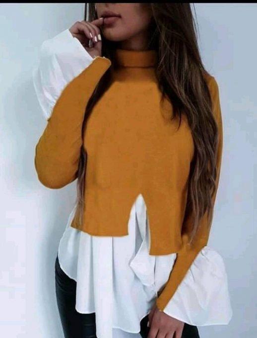 Дамска блуза тип риза с поло яка в цвят горчица