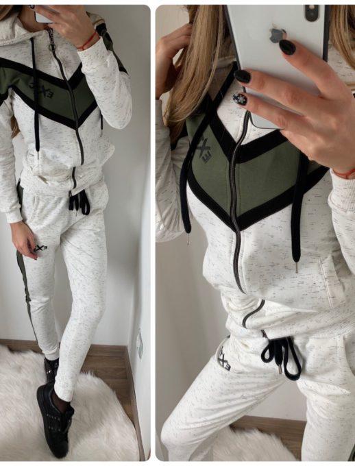 Елегантен спортен комплект в свежа комбинация в бяло