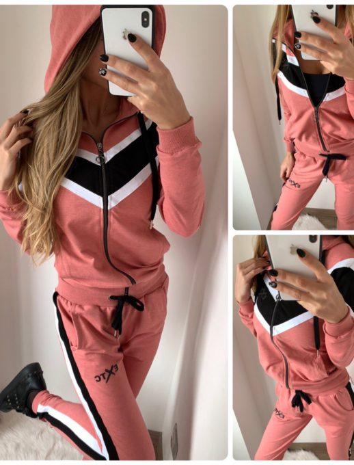 Елегантен спортен комплект в свежа комбинация в розово