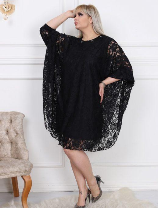 Шикозна дантелена макси рокля тип пончо в черно с нежни камъчета