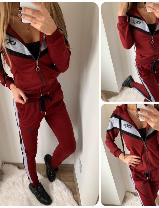 Елегантен спортен комплект в свежа комбинация в бордо