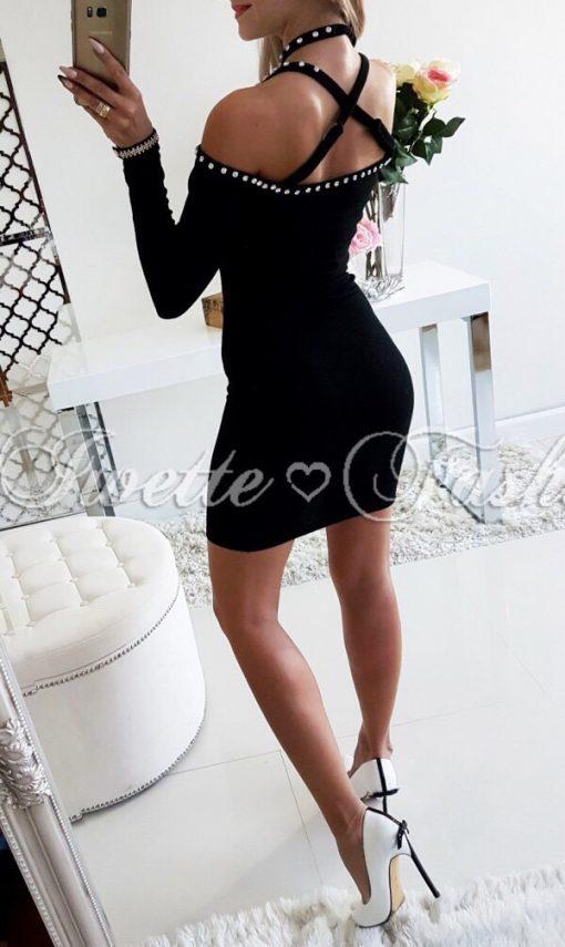 Завладяваща дамска рокля в черно с кокетни перлички