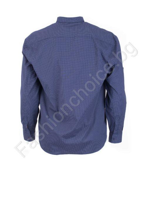 Прекрасна мъжка макси риза с джобче в син цвят/7XL,8XL/