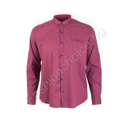 Прекрасна мъжка макси риза с джобче в цвят бордо/7XL,8XL/