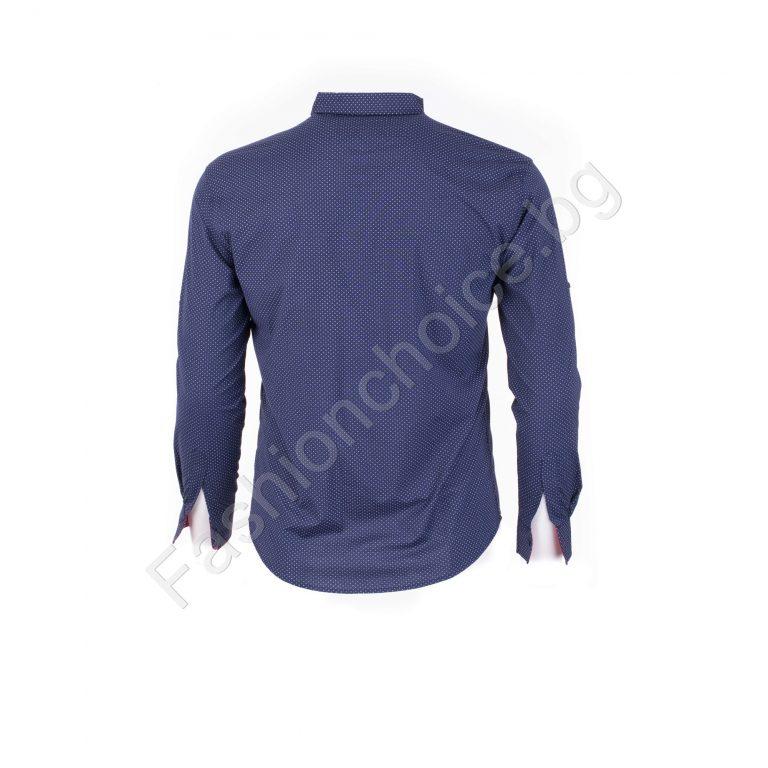 Прекрасна мъжка макси риза с джобче в син цвят/4XL,5XL,6XL/