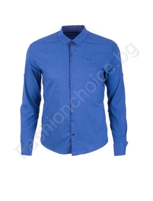 Прекрасна мъжка макси риза с джобче в синьо/3XL,4XL,5XL,6XL/