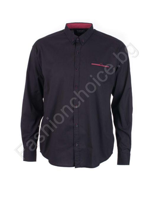 Едноцветна мъжка макси риза с джобче в черен цвят/7XL,8XL/