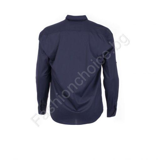 Едноцветна мъжка макси риза с джобче в тъмно син цвят/7XL,8XL/