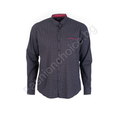 Прекрасна мъжка макси риза с джобче в черно/7XL,8XL/