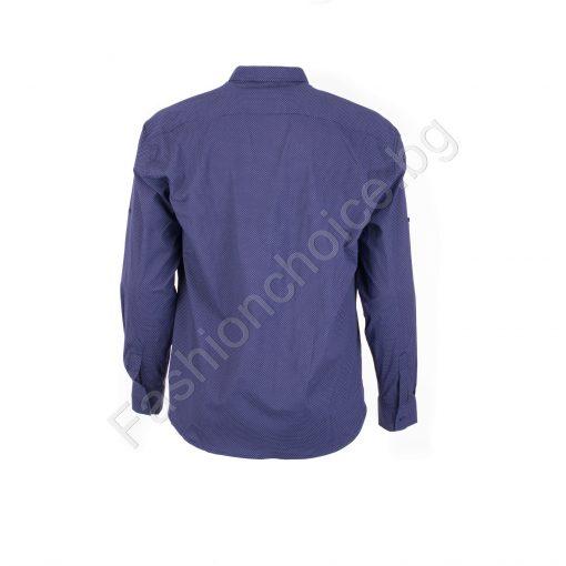 Прекрасна мъжка макси риза с джобче в цвят парламент/7XL,8XL/