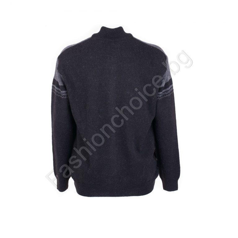 Топла мъжка плетена жилетка с цип в черно / 5XL, 6XL, 7XL, 8XL /