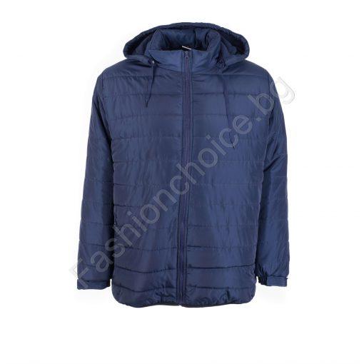 Право плътно мъжко макси яке с джобчета и качулка в два цвята