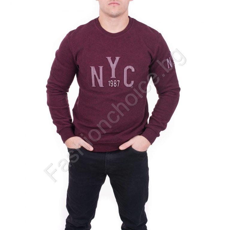 Плътна мъжка блуза от мека памучна материя в два цвята