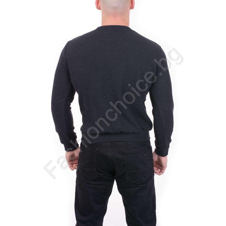 Мъжка блуза от мека и плътна материя в цвят антрацит