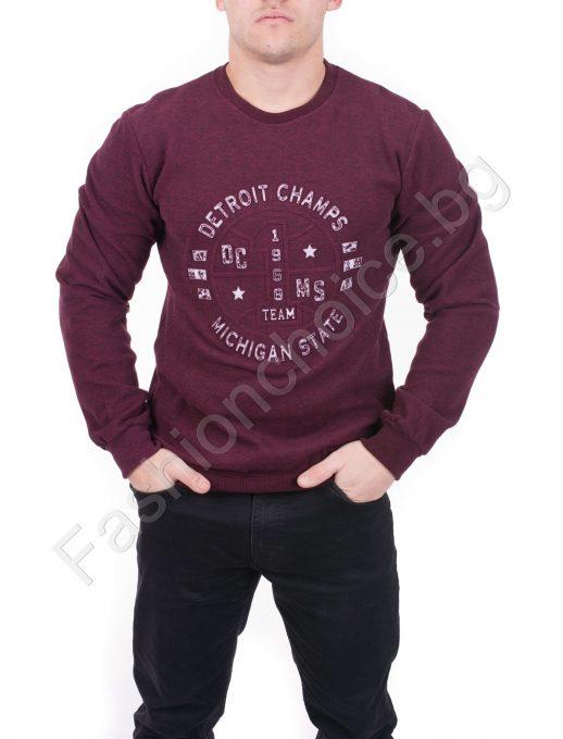 Мъжка блуза в два цвят с релефен надпис Detroit Champs