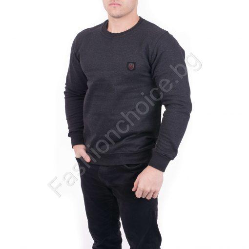 Мъжка блуза от плътна материя в черен меланжиран цвят