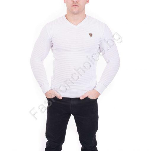 Мъжка блуза от фино релефно плетиво в черно и бяло
