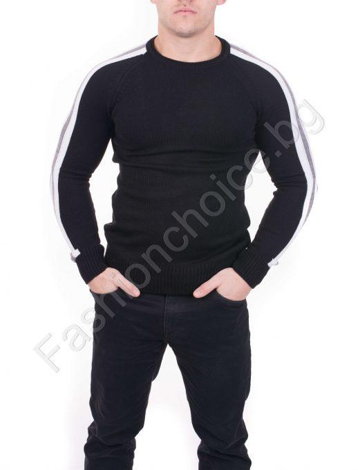 Мъжки пуловер в четири контрастни цвят с реглан ръкав