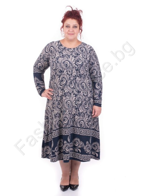 Шикозна макси рокля в бароков десен и мотиви тип ВЕРСАЧЕ