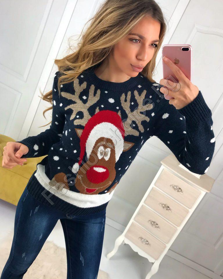 Топло коледно пуловерче в тъмно син цвят