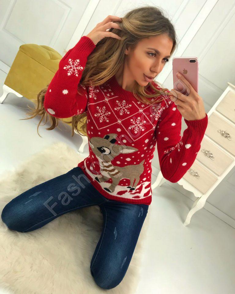 Сладко коледно пуловерче в червено