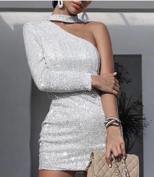 Официална сладка рокличка с фини сребърни паетки