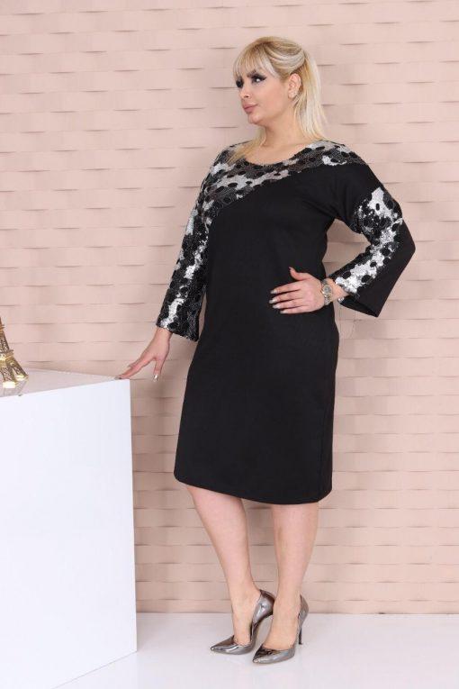 Стилна официална макси рокля в комбинация с двуцветни паети